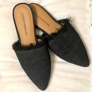 Lucky Brand Denim Frayed Loafers/Flats